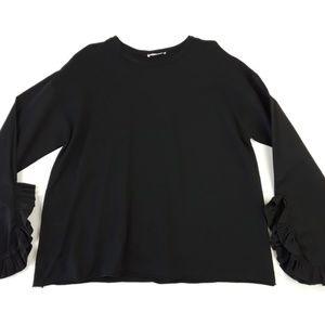 Zara Black Ruffle Sleeve Sweater